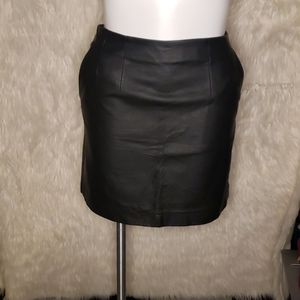 H&M Faux Leather Mini Skirt with Pockets Sz 12